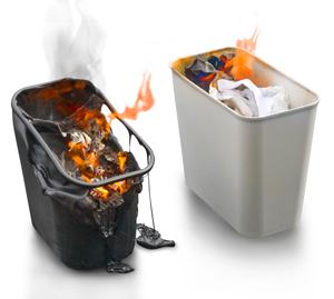 Other Wastebasket Brands During A Wastebasket Fire Left