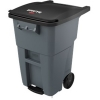 50 GALLON BRUTE® STEP-ON ROLLOUT CONTAINER WITH CASTERS - GRAY