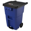 50 GALLON BRUTE® STEP-ON ROLLOUT CONTAINER WITH CASTERS - BLUE