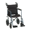 "19"" TRANSPORT CHAIR W/ 12"" REAR WHEELS AND HAND BRAKES - BLUE"