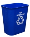 14 QUART UL WASTEBASKET - BLUE W/ RECYCLE LOGO