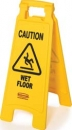 "FLOOR SIGN WITH  ""CAUTION WET FLOOR""  IMPRINT"