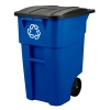 50 GALLON BRUTE® RECYCLING ROLLOUT CONTAINER WITH LID - BLUE